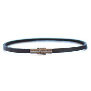 thin black leather bracelet