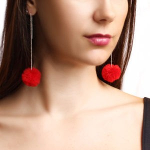 pom pom threader earrings