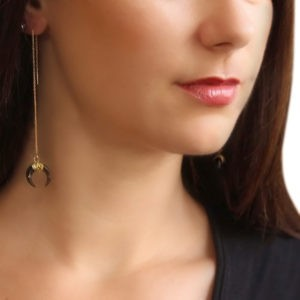 black black horn threader earrings