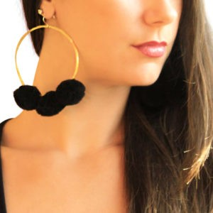 black pom pom hoop earrings