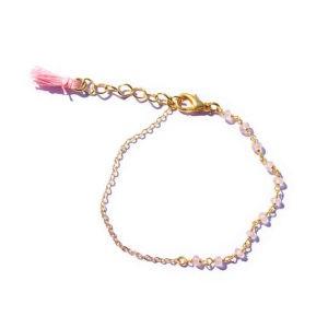 boho rose quartz tassel bracelet
